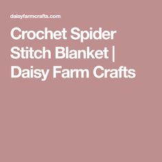 Crochet Spider Stitch Blanket | Daisy Farm Crafts