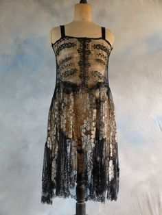1920s chantilly lace dance dress with metallic gold lace embellished skirt