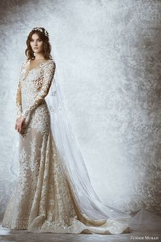ZUHAIR MURAD #bridal fall 2015: #wedding dress illusion lace long sleeves plunging neckline flora embroidery a line gown style
