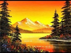 awesome Orange Mountain Lake (5x7) / Small & Simple Oil Painting Exercise for Beginners #OilPaintingForBeginners