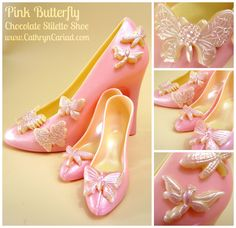 Pink Butterfly - Chocolate Stiletto Shoes - Heels available from Cathryn Cariad chocolates - www.CathrynCariad.com