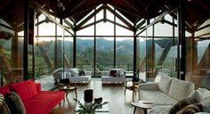 Botanique Hotel and Spa, Brazil -- São Paulo–based architecture firm Candida Tabet Arquitetura planned the contemporary structures to emphasize the dramatic landscape of the Bairro dos Mellos river valley and Mantiqueira Mountains beyond.