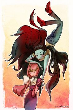 Marceline x Bubblegum is so totes adorbs that it hurts my face. Colored version of this sketch which I'll be selling at Sakuracon!
