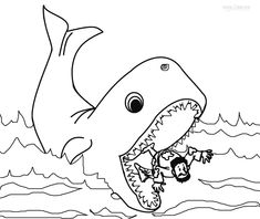 jonah and the whale free bible coloring page from cullen's abc's ... - Jonah Whale Coloring Page