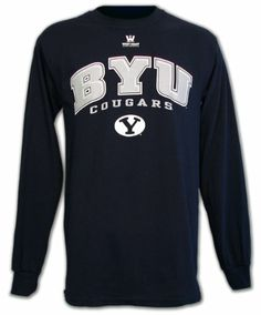 Wow, I want this -  BYU Cougars T-shirt, Long Sleeve Navy (Large)    #LDSproducts #MormonProducts #CTR