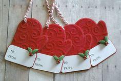 Christmas Gift Tags, Santas Mittens, Mitten Gift tag, Winter Gift tag, Holiday…