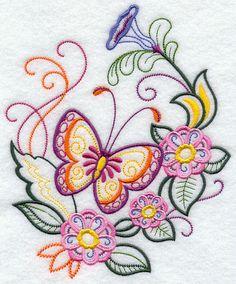 Borboleta brilhante e flores