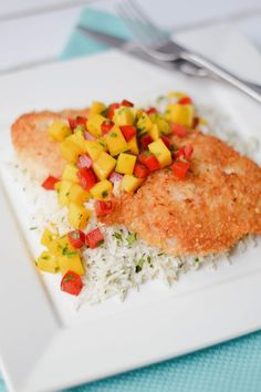 ... Coconut-Crusted Rockfish with Mango Salsa and Cilantro, Lime & Coconut