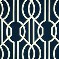 Deco Navy Blue Contemporary Cotton Print Drapery Fabric by Richtex Premium Prints