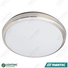 Brushed Nickel - Cool White Martec Lunar 18w Dimmable LED Indoor/Outdoor Oyster Light IP54 - Shop - Lighting Illusions Online
