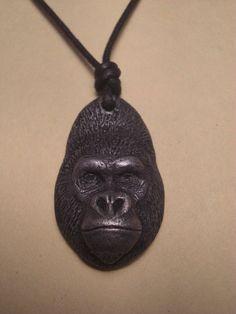 Gorilla pendant necklace NEW Western Lowland by jasonshanamanart