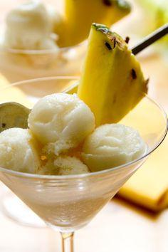 Pineapple Coconut Sorbet | serve in martini glasses with wedges of pineapple | Healthy Seasonal Recipes #vegan