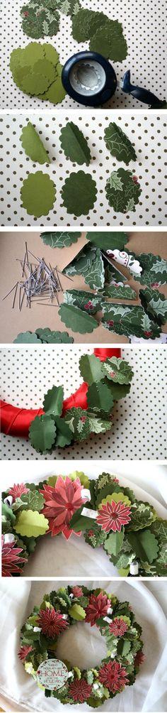 Paper Holiday Wreath Tutorial by @Tania Willis www.fiskateers.com