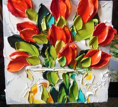 Oil Painting Red Tulips Impasto Painting via Etsy