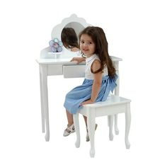 $126.28-$185.90 Baby Every little girl needs a vanity table to keep jewelry, brushes and barrettes. KidKraft's white Medium Diva Table and Stool Set is crafted from wood, and is a stylish and pretty focal point for every little girl's room. Appropriate for children ages 3 to 8 years old.  Features: Wooden stool Round plexi-glass mirror for safety Large center drawer Two shelves for displaying sm ...