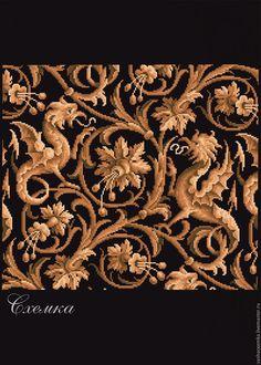 """Купить Ретро схема """"Ковёр """" - золотой, схема для вышивки крестом, схема, схема вышивки"""