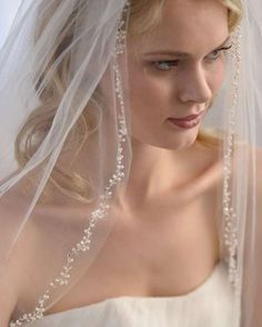 Enchanting Ivory Beaded Pearl and Crystal Floral Vine Fingertip Wedding Veil. Veil Length, Ivory Veil, Wedding Veils, Lace Wedding, Wedding Dresses, Crystal Beads, Silver Beads, Crystals, Bridal Accessories