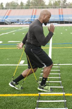 Ladder drill under variable resistance for more agility and explosiveness.