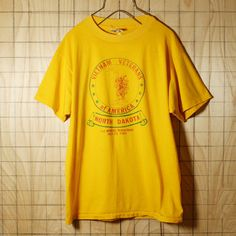Hanes/USA製80s古着/イエロー/VIETNAM VETELANS OF AMERICAプリントTシャツ/メンズL
