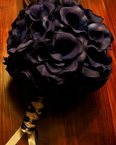 """7"""" plain blue rose bouquet with 24 roses and a princess double strand wrapped handle with pearl accent gems $24.00 USD   www.etsy.com/myglorifiedlife"""