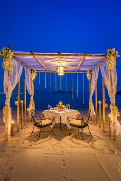 Romantic Private Beachfront Cabana Dining, If you're looking for a romantic seaside restaurant. Seafood and private dinner by the beach at phuket's most romantic dinner. Romantic Dinner Setting, Romantic Night, Romantic Dinners, Romantic Candle Light Dinner, Dream Dates, Beach Dinner, At Home Date Nights, Surprises For Her, Tent Design