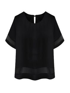 Plus Size Solid Short Sleeve Sheer Patchwork Women Chiffon Blouse