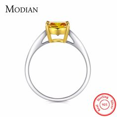 3Ct Modian Classic Design Authentic 925 Sterling Silver Ring Gold White Color Clear Crystal Wedding Engagement Jewelry For Women #Affiliate