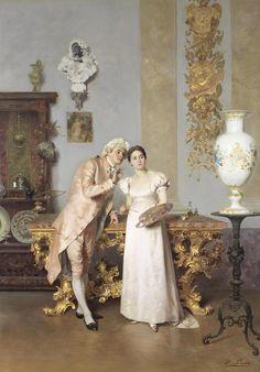 The art lesson.Francesco Beda (Italian, 1840-1900). Oil on...