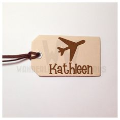 Personalized Leather Luggage Tag Made From by WanderlustWoodworks Airplane Baby Shower, Leather Luggage Tags, Unique Jewelry, Handmade Gifts, Etsy, Kid Craft Gifts, Craft Gifts, Costume Jewelry, Diy Gifts