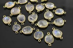 Natural Rainbow Moonstone Faceted Oval Connector 24K by Beadspoint, $5.99