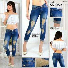 """""Ripped jeans RIJ 55052 Material: soft jeans Harga: 135 Size: 27-30 Order PIN CS1-5A1F32FA PIN CS2-5FI5DE72 & SMS/WA 087722-575-101  Reseller & Dropship Welcome!  Happy Shopping! :) #jamtangan #jamtanganwanita #jammurah #grosirjam #sweatercouple #flatshoes #jamtanganterbaru #resellerjamtangan #taswanita #sneakerscwe #celanajeansripped #jamtanganartis #olshop #wedgesterbaru #jaketjeans  #resellerwelcome #celanajeans #sepatubandung #celanajeanshw"