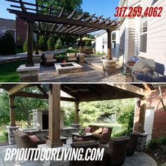 ‪2 beautiful Outdoor Living Areas!‬  ‪Which one would look perfect in your backyard? #outdoorliving #backyard #bpi #landscaping ‬