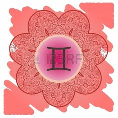 zodiac sign Gemini  What is karma  Vector circle with zodiac signs on ornate wallpaper  Oriental mandala motif square lase pattern, like snowflake or mehndi paint  Watercolor elements on background photo