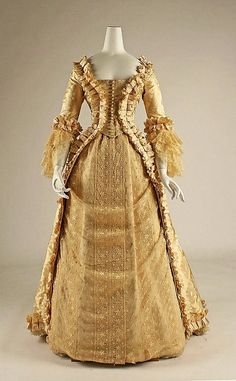 About 1880's gold satin and silk Wedding Gown