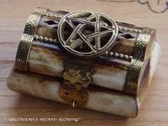 Carved Pentagram Pentacle Wood Tarot Trinket Box, Wicca Witchcraft Occult Pagan