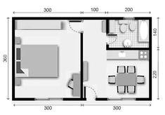 Apartamento studio … Studio Plus Studio Apartment Floor Plans, Studio Apartment Layout, Apartment Plans, Tiny Spaces, Small Apartments, Small House Floor Plans, Flat Ideas, Room Planning, Tiny House Design