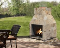 """24"""" Stone Age Patio Series™ fireplace, available as a kit for DIY or prebuilt and ready to go!"""