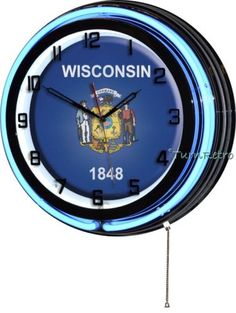 "Wi wisconsin state flag 18"" blue #double neon wall #clock #patriotic man cave dec,  View more on the LINK: 	http://www.zeppy.io/product/gb/2/262479829276/"