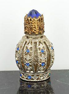 Vintage Irice Stubby Miniature Perfume Bottle 1930s Blue Stones Filigree