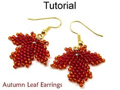 brick stitch leaf earrings | ... Earrings - Diagonal Peyote Stitch - Simple Bead Patterns - Autumn Leaf