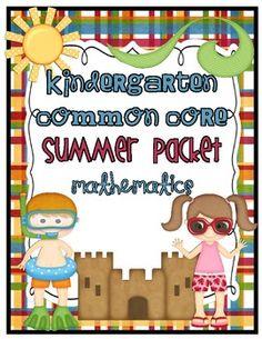 Common Core Summer Math Review/Homework Packet {Kindergarten}