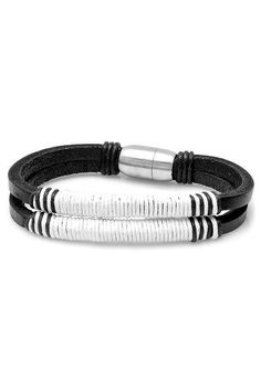 Steeltime Black with White Strap Bracelet