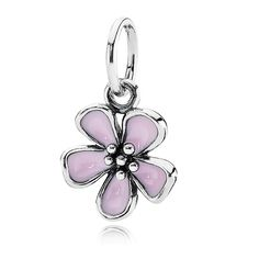 Pandora Cherry Blossom with Pink Enamel Stories Pendant. Makes great dangle.