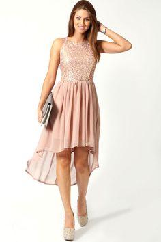 Jess Sequin Top Open Back Chiffon Dip Hem Dress at boohoo.com
