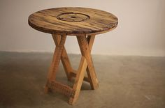 Rustic Patio Table #Cable Spool #Recycled #ToTheSouth Rustic Patio, Patio Table, Stool, Recycling, Cable, Objects, Furniture, Home Decor, Cabo