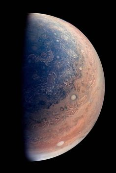 This enhanced color view of Jupiter's south pole was created by citizen scientist Gabriel Fiset using data from the JunoCam instrument on NASA's Juno spacecraft. Oval storms dot the cloudscape. Approaching the pole, the organized turbulence of Jupiter's belts and zones transitions into clusters of unorganized filamentary structures, streams of air that resemble giant tangled strings.