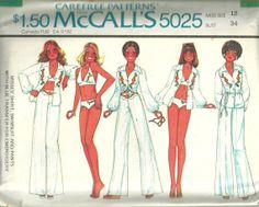 McCalls 5025 1970s Misses Bikini Shirt and Pants vintage sewing pattern by mbchills,