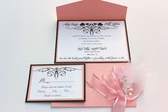 Wedding Invitations Light Pink and White Feather
