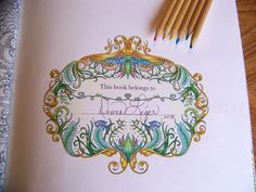 """Adult Coloring Book """"Lost Ocean"""" Johanna Basford. This book belongs to. Colored by Donna Leger"""