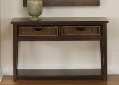 Lakewood Sofa Table with Baskets - Amaretto